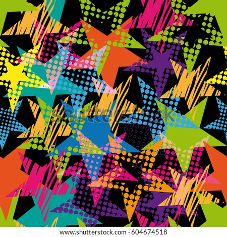 Abstract Seamless Stars Pattern Pop Art Comicspeech Bubbles Tender Wallpaper On Black Background