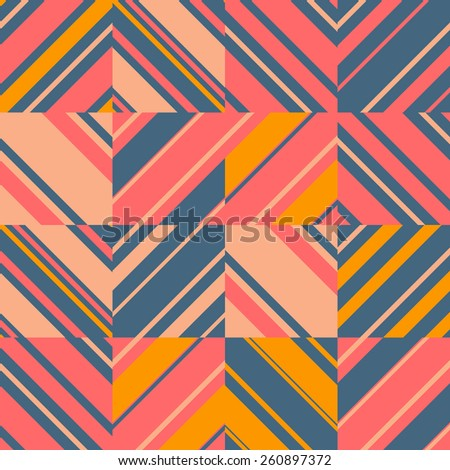 Abstract seamless striped bright geometric pattern. Boho chic background. - stock vector