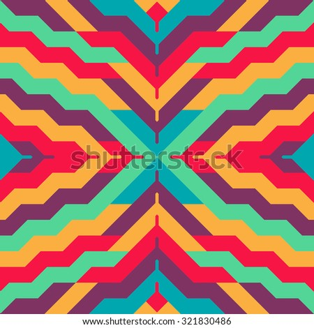 Abstract Seamless Stripped Pattern for Textile Design. Geometric Print in Ethnic Style. Vector Background Illustration - stock vector