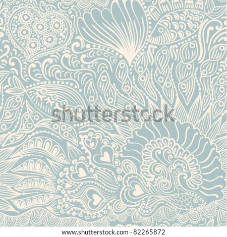 Abstract seamless texture with fish, hearts, flowers. Endless background. - stock vector