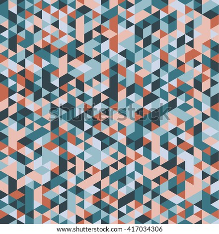 Abstract seamless triangular background. Vector illustration. Retro colors. Polygon, triangular shapes. Seamless pattern.
