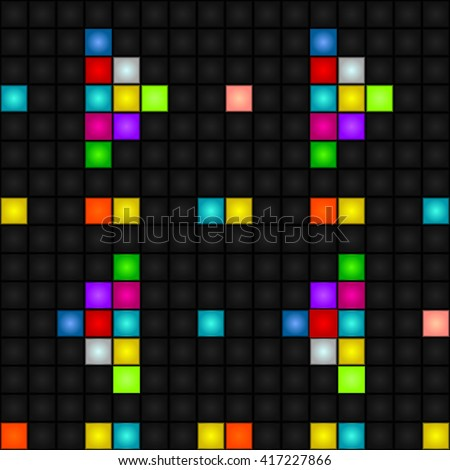 Abstract, seamless, vector background - colorful pixel arrow forward and backward. LED-Display. Futuristic. - stock vector