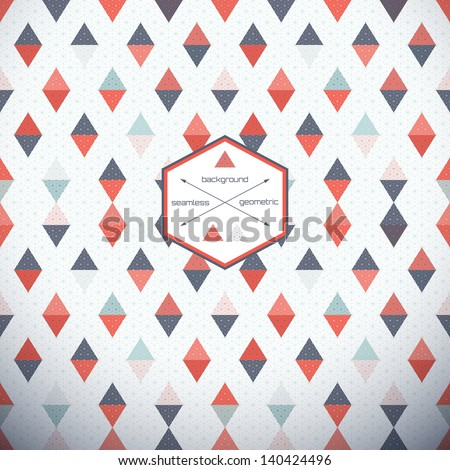 Abstract seamless vector background. Multicolored triangles and grid. - stock vector