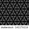 Abstract seamless vector black and white inverted pattern with jewel-like figures. Easy to change the colors. - stock vector