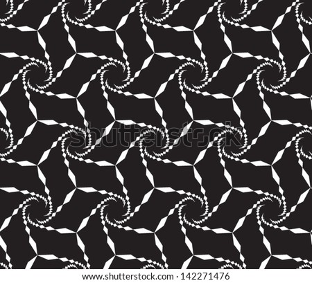 Abstract seamless vector black and white inverted pattern with spiral structure. Easy to change the colors. - stock vector