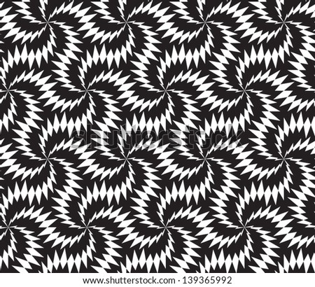 Abstract seamless vector black and white inverted pattern with stylized thorny six stars - stock vector