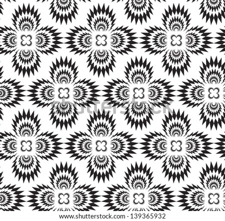 Abstract seamless vector black and white thorny pattern with stylized cross explosions - stock vector