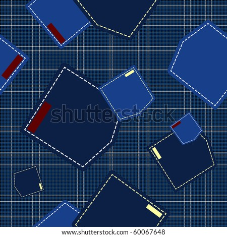 abstract seamless vector illustration with jeans pockets - stock vector