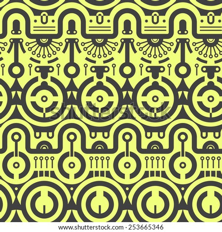 Abstract Seamless Vector Pattern in Industrial Style. Black rounded shapes on yellow - stock vector