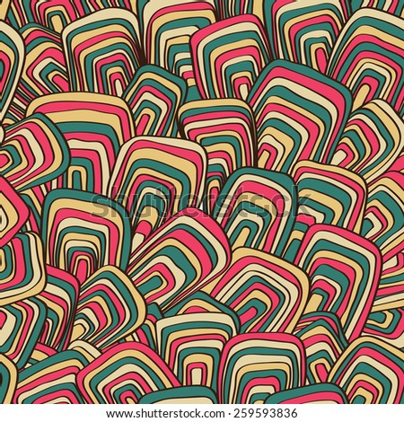 Abstract seamless vector retro background. Psychedelic pattern. Ornament in style of the sixties.