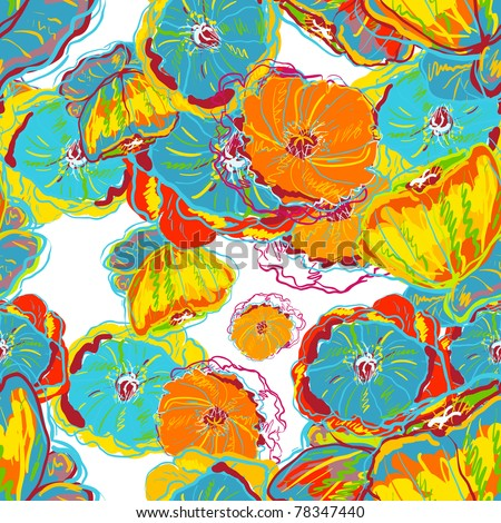 Abstract seamless vector texture with bright flowers