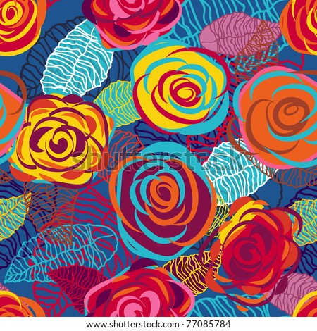 Abstract seamless vector texture with bright roses