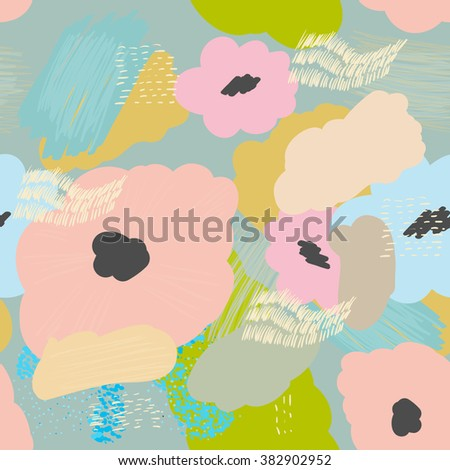 Abstract seamless vector texture with multicolored flowers