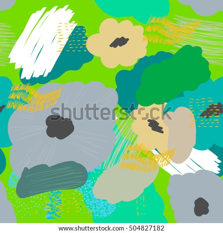 Abstract seamless vector texture with multicolored flowers. Vector Pattern.