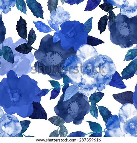 Abstract seamless watercolor hand painted background. Isolated blue flowers and leafs. Vector illustration. - stock vector
