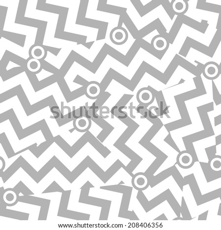 Abstract Seamless Zigzag Pattern. Mix of Cut Gray Zigzag Lines. Duotone Stripes Background