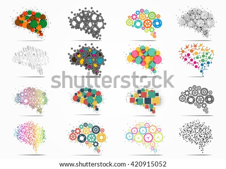 Abstract set brain graphic - stock vector