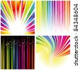 Abstract set of rainbow color stripe and stars background - stock vector