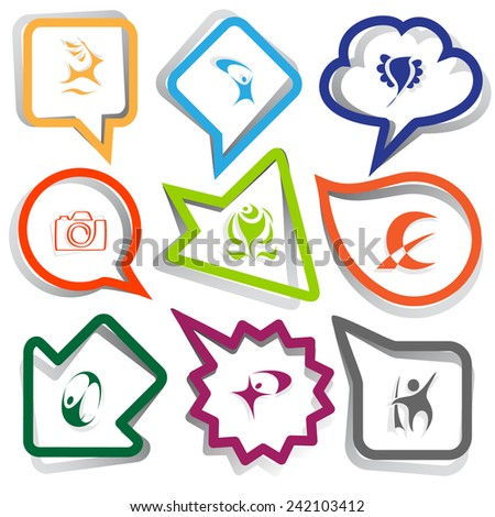 Abstract set. Paper stickers. Vector illustration. - stock vector