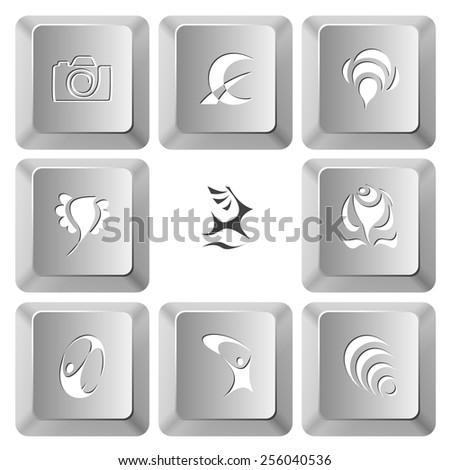 Abstract set. Vector set computer keys. - stock vector