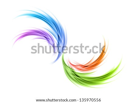 Abstract shape in the rainbow colors - stock vector