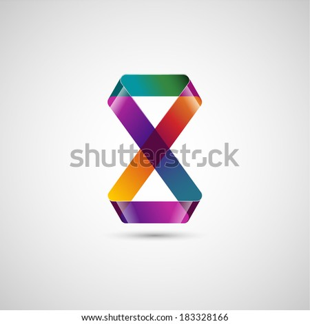 Abstract shape, lemniscate, infinity symbol, eps10 vector - stock vector