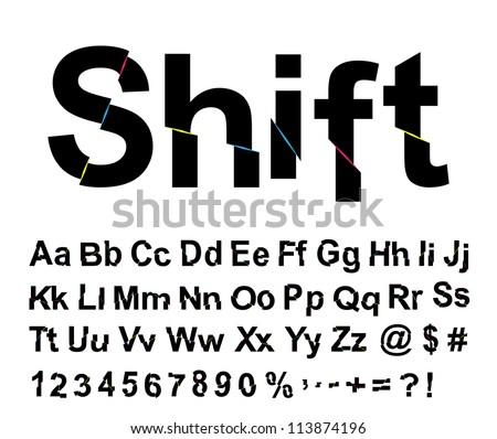 Abstract shift font. Vector illustration. - stock vector