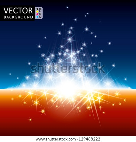 Abstract Shine Light Balls Cubes Flying Rays Background CMYK Color. - stock vector