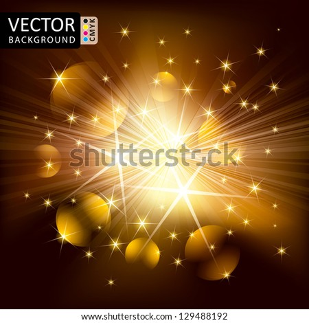Abstract Shine Light Balls Flying Rays Background CMYK Color. - stock vector