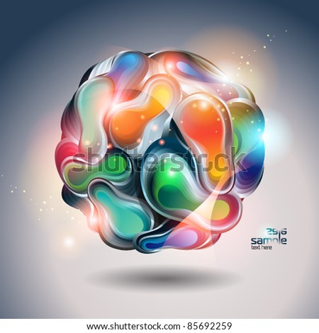 Abstract shining ball from transforming forms on a gray background. Vector illustration. - stock vector