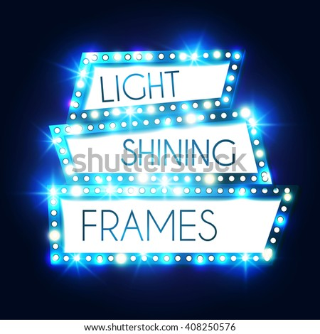 Abstract Shining Frame. Retro Light Banner. Vector illustration - stock vector