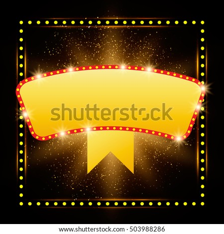 Abstract shining retro light banner. Vector illustration