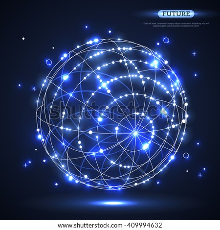 Abstract shining vector sphere. Futuristic technology glowing wireframe mesh element. Connection Structure. Geometric Modern Technology Concept. Digital Data Visualization. - stock vector