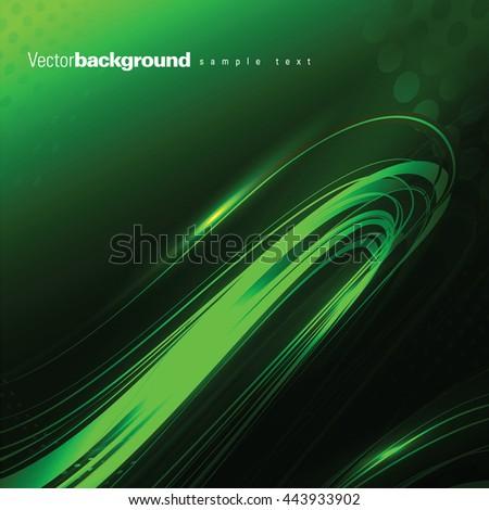 Abstract Shiny Background. Green Wavy Illustration. - stock vector