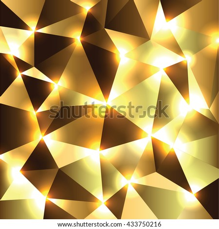 Abstract Shiny Background. Orange and Golden Sparkly Geometric Illustration. - stock vector
