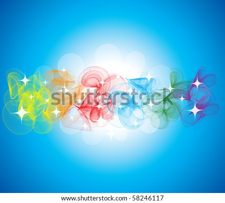 abstract shiny background with colorful smoke - stock vector