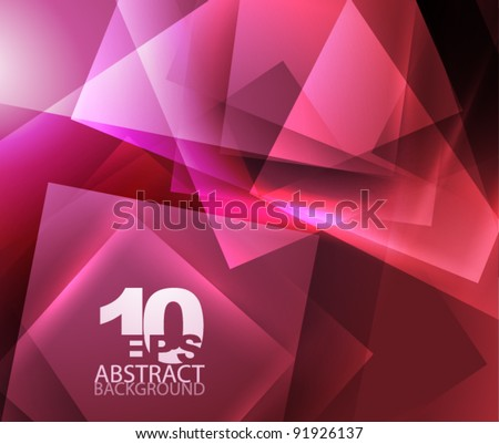Abstract shiny geometric background in purple|red color - stock vector