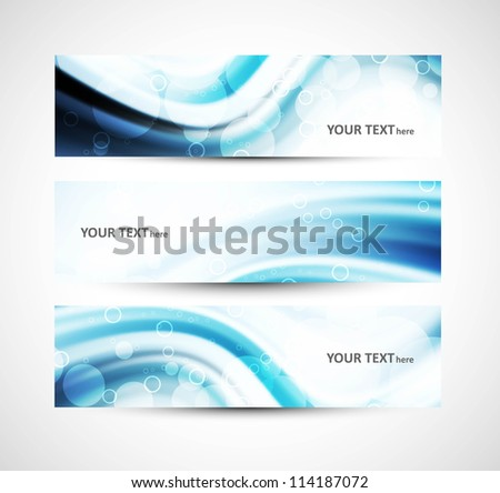 Abstract shiny header blue wave whit vector - stock vector