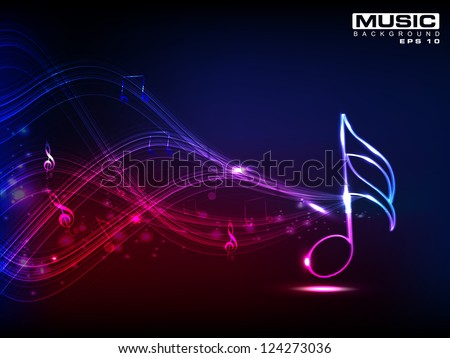 Abstract shiny musical note on blue background. EPS 10. - stock vector