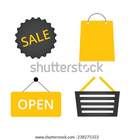 Abstract shopping icon set. Vector illustration. - stock vector