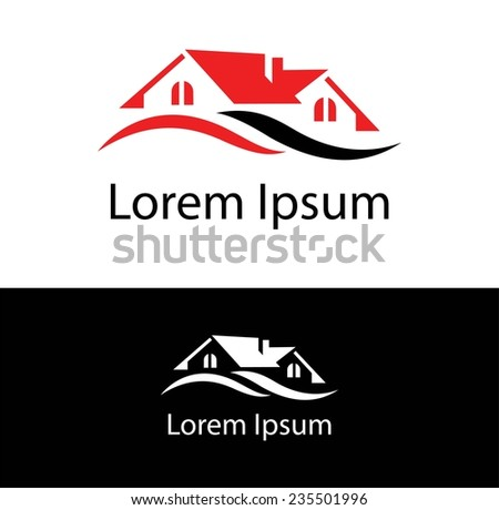 Abstract silhouette icon for use in the construction industry, real estate or insurance