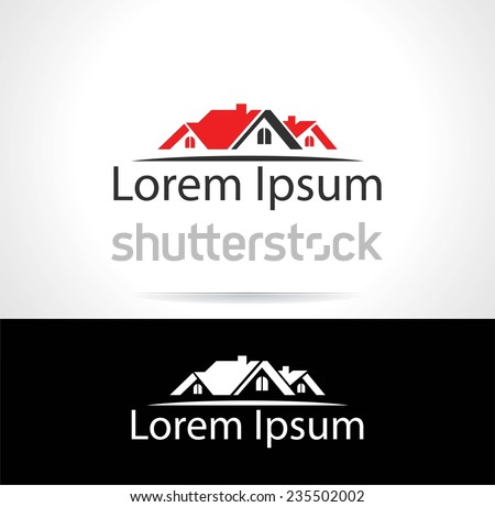 Abstract silhouette icon for use in the construction industry, real estate or insurance - stock vector