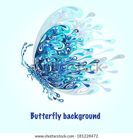 Abstract silhouette of a blue butterfly - stock vector
