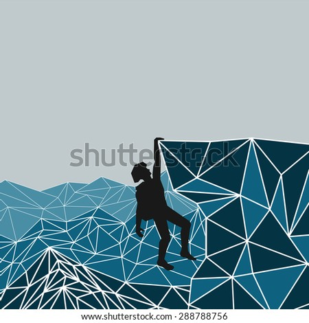abstract silhouette of a climber in a helmet and backpack on a background of mountains that left hand holding on to an overhanging rock ledge. vector - stock vector