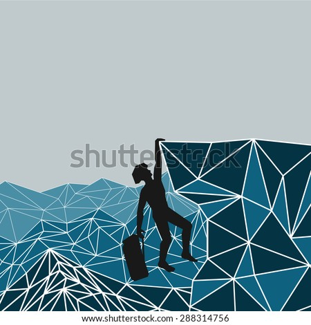 abstract silhouette of a climber in a helmet on a background of mountains that left hand holding on to an overhanging rock ledge, while the right hand holds the backpack - stock vector