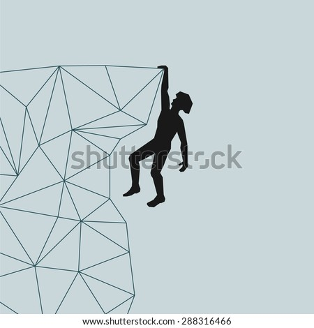 abstract silhouette of a climber in a helmet that the right hand on the rock ledge