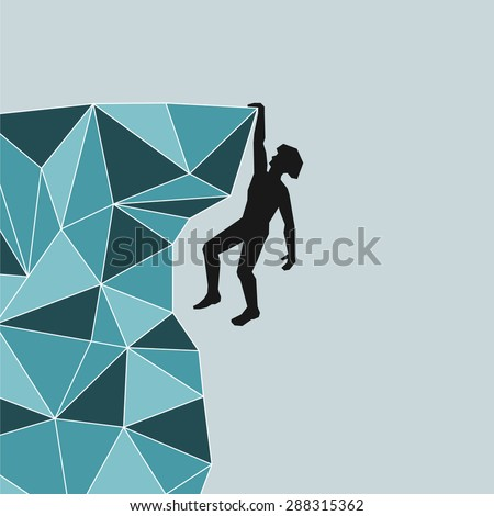 abstract silhouette of a climber who with one hand holding onto the rock ledge - stock vector