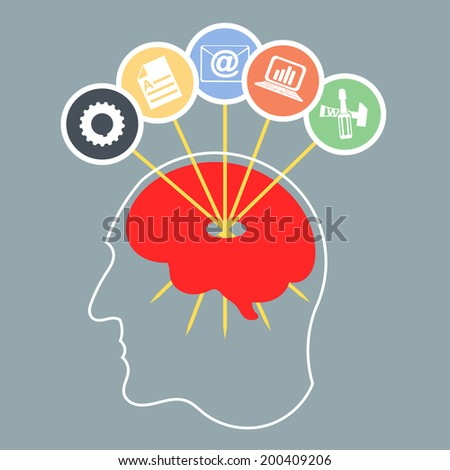 Abstract silhouette of a man's head with brain. Infographics design. Vector illustration