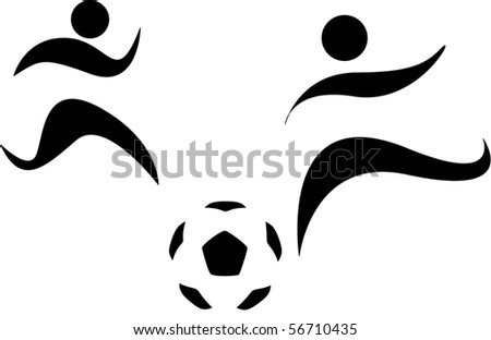 Abstract silhouette of footballer and soccer ball on white background