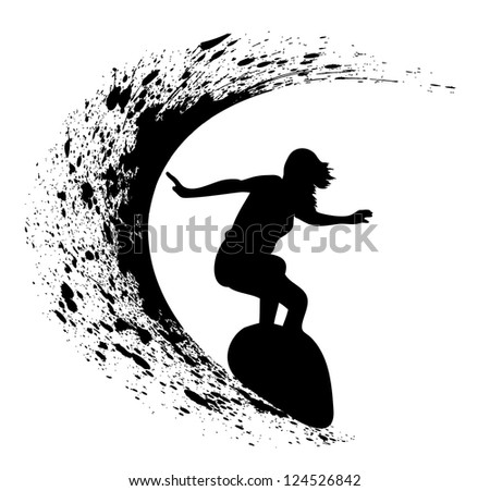 abstract silhouette of the surfer at the ocean - stock vector